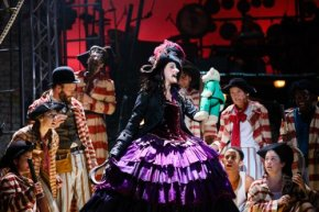 peter-pan-2. Anna Francolini as Captain Hook and the Peter Pan company. Photo by Steve Tanner.-thumb-imgprevi